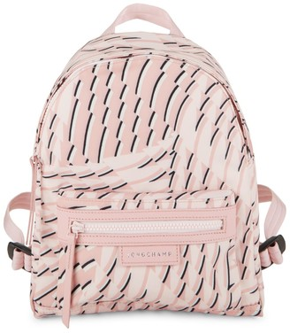 Longchamp Le Pliage Leather-Trim Printed Backpack