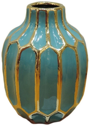 Sagebrook Home Turquoise And Gold Ceramic Vase 12540-01