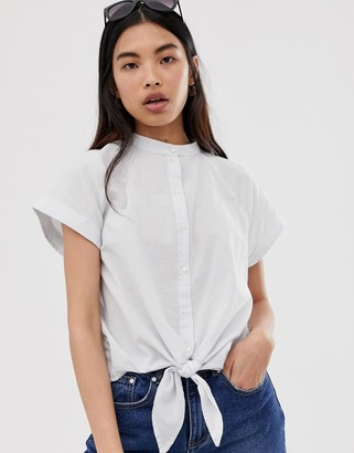 Selected boxy chambray tie front shirt