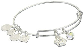 Alex and Ani Charity By Design, Paw Print Duo Charm Bangle (Shiny Silver) Bracelet