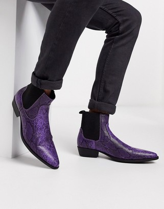 ASOS DESIGN cuban heel western boots in lilac faux leather with snake print