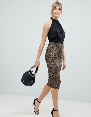 ASOS DESIGN leopard print ponte pencil midi skirt