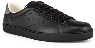 Gucci New Ace Low Top Sneaker in Black & Black & Swamp Grey | FWRD
