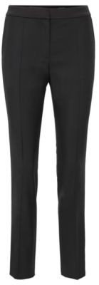 HUGO BOSS Regular Fit Tuxedo Inspired Trousers With Satin Trims - Black