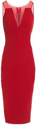 Rick Owens Tulle-paneled Textured Cotton-blend Midi Dress