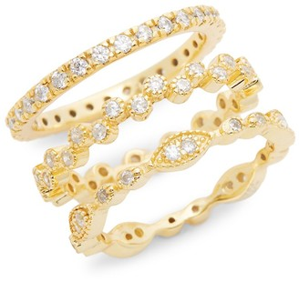 Sterling Forever 14K Goldplated Triple Stack Ring/Size 6
