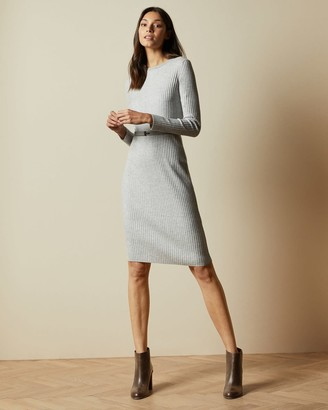 Ted Baker Long Sleeved Ribbed Knitted Midi Dress