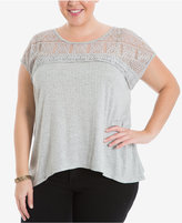 Eyeshadow Plus Size Lace-Yoke Top