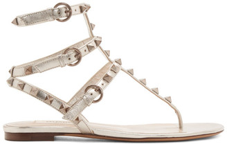 Valentino Silver Garavani Rockstud Double Thong Sandals