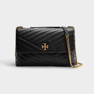 Tory Burch Kira Chevron Convertible Shoulder Bag In Black Leather
