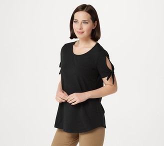 Women With Control Curved Hem T-Shirt w/ Tie Sleeve Detail