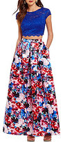 Teeze Me Lace Top to Floral Skirt Two-Piece Ball Gown