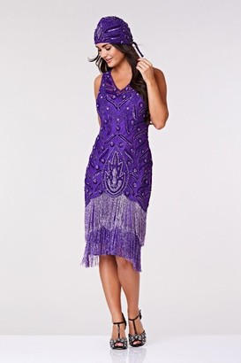 Gatsbylady London Hollywood Fringe Flapper Dress in Purple