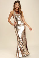 LuLu*s Notorious Rose Gold Sequin Maxi Dress