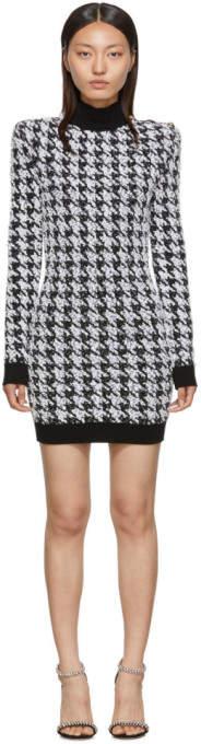 Balmain Black and White Tweed Houndstooth Long Sleeve Dress