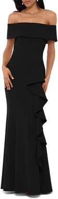 Betsy & Adam Off the Shoulder Front Ruffle Scuba Crepe Gown