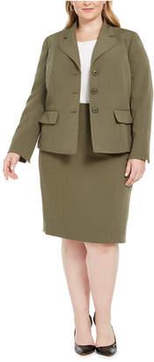 Le Suit Plus Size Four-Button Skirt Suit