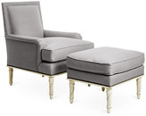 Bunny Williams Home Azure Accent Chair & Ottoman Set - Gray frame, alpine white; upholstery, gray; nailheads, bronze
