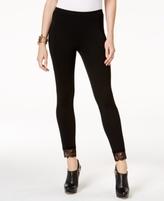 MICHAEL Michael Kors Petite Lace-Trim Cropped Leggings