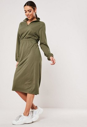 Missguided Khaki Zip Front Midi Sweater Dress