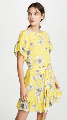 Alice + Olivia Ellamae Drop Shoulder Ruffle Sleeve Dress