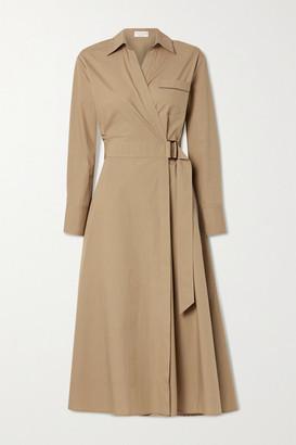 Brunello Cucinelli Bead-embellished Cotton-poplin Wrap Shirt Dress - Sand