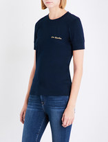 Frame Extended cuff embroidered logo T-shirt