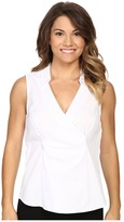 NYDJ Petite Petite Sleeveless Stretch Cotton Poplin Wrap Blouse