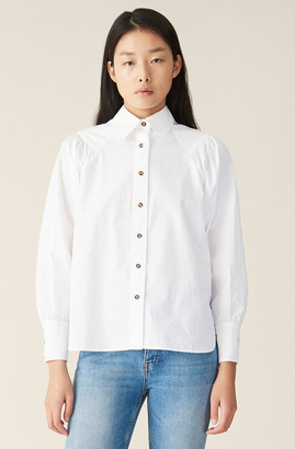 Ganni Plain Cotton Poplin Shirt