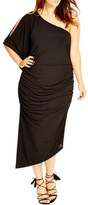 City Chic Plus Size Women's 'Black Drama' One-Shoulder Midi Dress
