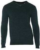 DKNY Men's Long Sleeve Stripe Marl V-Neck Sweater