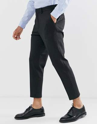 Selected crop tapered jersey trouser in grey pinstripe