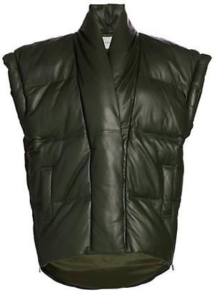 Frame Sleeveless Leather Puffer Jacket