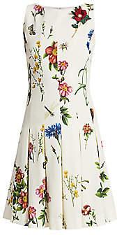 Oscar de la Renta Women's Sleeveless Printed A-Line Dress