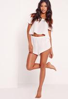 Missguided Bardot Pyjama Set White