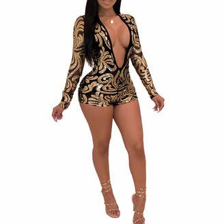 Longfei Women's Sexy Deep V Neck Jumpsuit Long Sleeve Floral Print One-Piece Romper Bodycon Bodysuit Pajamas Babydoll (G Small)