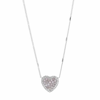 Fossil Mosaic Heart Stainless Steel Necklace