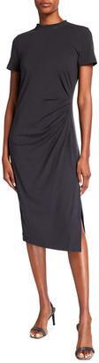 Brunello Cucinelli Short Sleeve Ruched Jersey Cotton Dress