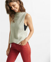Express Sleeveless Shaker Knit Mock Neck Pullover