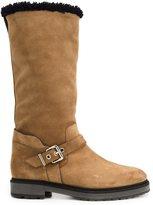 Fendi wavy trim boots - women - Sheep Skin/Shearling/Suede/rubber - 36