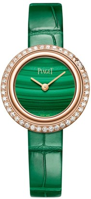 Piaget Possession 18K Rose Gold, Diamond, Malachite & Green Alligator Strap Watch