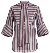 Palmer Harding PALMER//HARDING Striped pussybow-neck cotton shirt