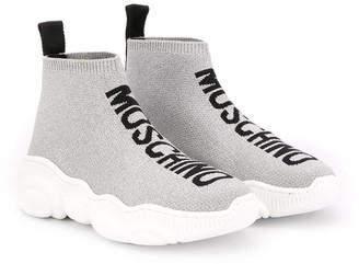 MOSCHINO BAMBINO Logo Embroidered Sneakers