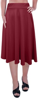 Eyecatch - Womens Plus Size Elastic Waist Ladies Knee Length Plain Skater Flared Skirt Sizes Fushia