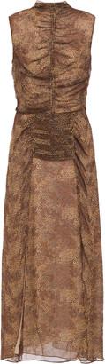 Nicholas Ruched Leopard-print Silk-georgette Midi Dress
