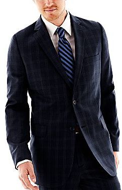 JCPenney Stafford® Blue Plaid Suit Jacket