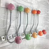 G Decor Plain Round Coloured Ceramic Coat Hooks Racks