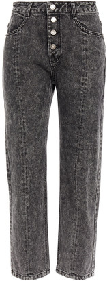 Sjyp Cropped Acid-wash Mid-rise Straight-leg Jeans