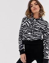 NA-KD Na Kd cropped zebra print hoodie