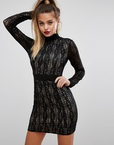 PrettyLittleThing High Neck Lace Mini Dress